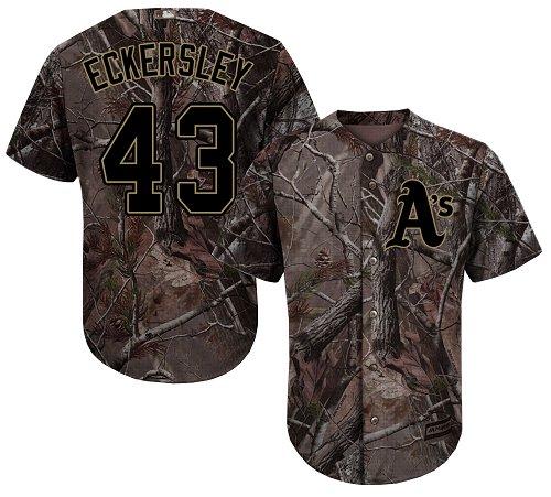 Men's Majestic Oakland Athletics #43 Dennis Eckersley Authentic Camo Realtree Collection Flex Base MLB Jersey