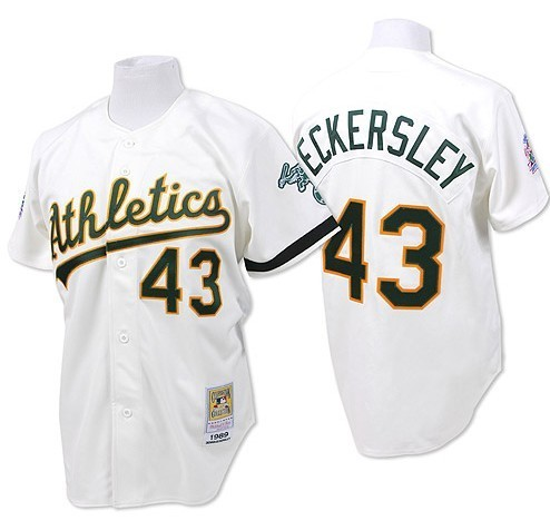 Men's Mitchell and Ness Oakland Athletics #43 Dennis Eckersley Replica White Throwback MLB Jersey