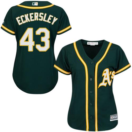Women's Majestic Oakland Athletics #43 Dennis Eckersley Replica Green Alternate 1 Cool Base MLB Jersey