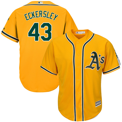 Youth Majestic Oakland Athletics #43 Dennis Eckersley Authentic Gold Alternate 2 Cool Base MLB Jersey