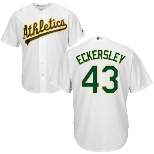 Youth Majestic Oakland Athletics #43 Dennis Eckersley Authentic White Home Cool Base MLB Jersey