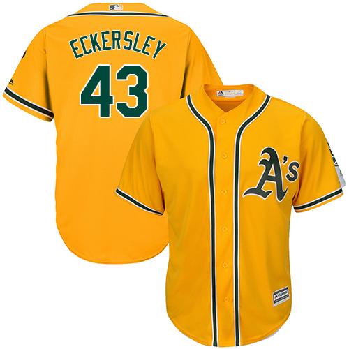 Youth Majestic Oakland Athletics #43 Dennis Eckersley Replica Gold Alternate 2 Cool Base MLB Jersey
