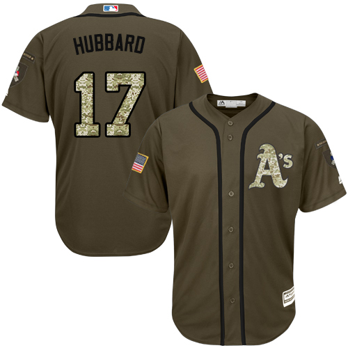 Men's Majestic Oakland Athletics #17 Glenn Hubbard Authentic Green Salute to Service MLB Jersey