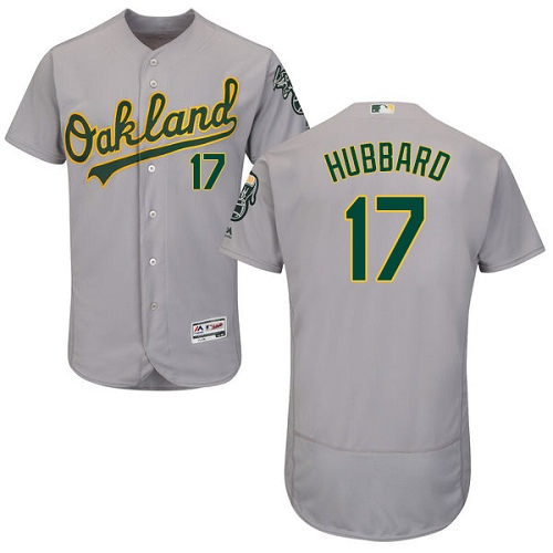 Men's Majestic Oakland Athletics #17 Glenn Hubbard Grey Road Flex Base Authentic Collection MLB Jersey