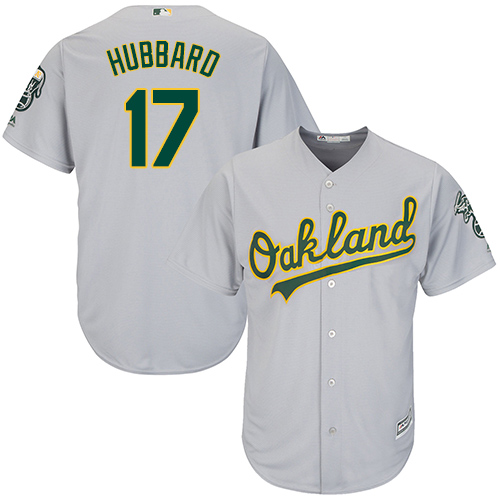 Men's Majestic Oakland Athletics #17 Glenn Hubbard Replica Grey Road Cool Base MLB Jersey