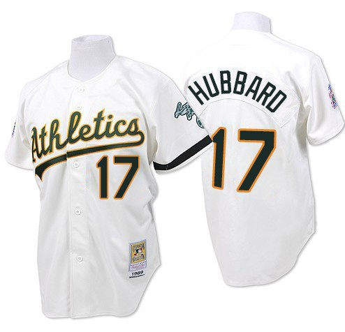 Men's Mitchell and Ness Oakland Athletics #17 Glenn Hubbard Replica White Throwback MLB Jersey
