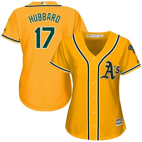 Women's Majestic Oakland Athletics #17 Glenn Hubbard Authentic Gold Alternate 2 Cool Base MLB Jersey