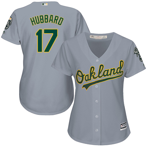 Women's Majestic Oakland Athletics #17 Glenn Hubbard Authentic Grey Road Cool Base MLB Jersey