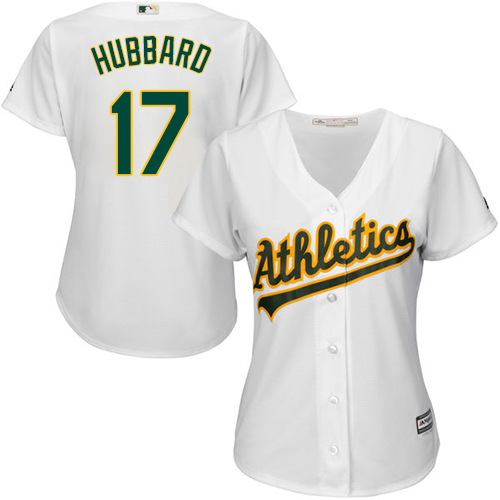 Women's Majestic Oakland Athletics #17 Glenn Hubbard Authentic White Home Cool Base MLB Jersey