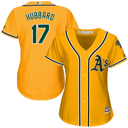 Women's Majestic Oakland Athletics #17 Glenn Hubbard Replica Gold Alternate 2 Cool Base MLB Jersey