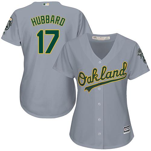 Women's Majestic Oakland Athletics #17 Glenn Hubbard Replica Grey Road Cool Base MLB Jersey