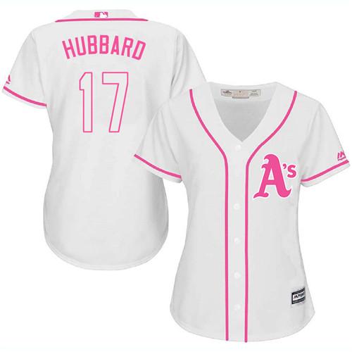Women's Majestic Oakland Athletics #17 Glenn Hubbard Replica White Fashion Cool Base MLB Jersey