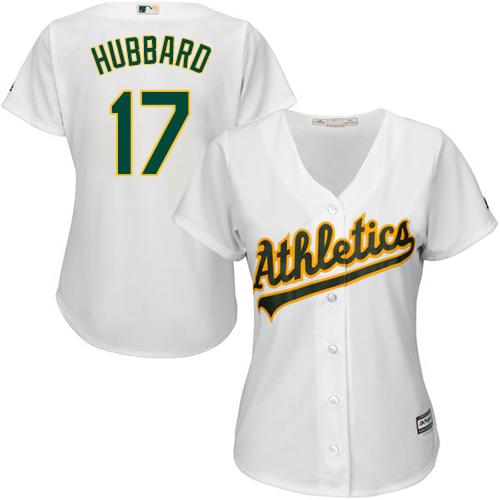 Women's Majestic Oakland Athletics #17 Glenn Hubbard Replica White Home Cool Base MLB Jersey