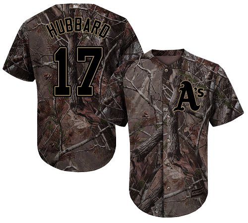 Youth Majestic Oakland Athletics #17 Glenn Hubbard Authentic Camo Realtree Collection Flex Base MLB Jersey