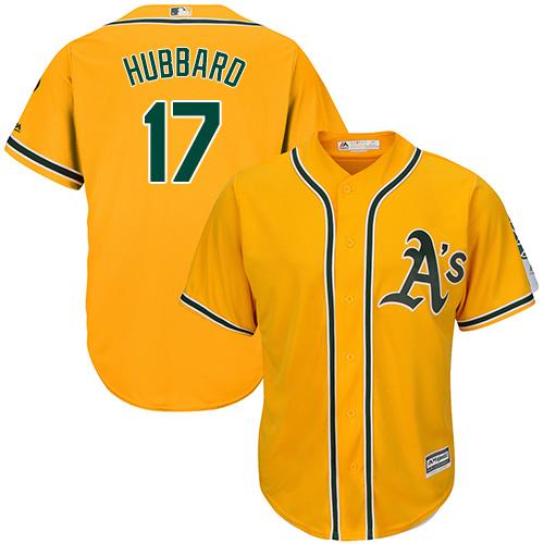 Youth Majestic Oakland Athletics #17 Glenn Hubbard Authentic Gold Alternate 2 Cool Base MLB Jersey