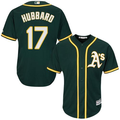 Youth Majestic Oakland Athletics #17 Glenn Hubbard Authentic Green Alternate 1 Cool Base MLB Jersey