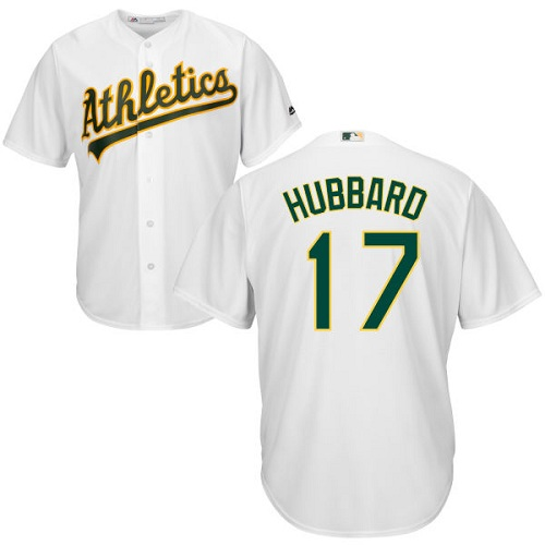 Youth Majestic Oakland Athletics #17 Glenn Hubbard Authentic White Home Cool Base MLB Jersey