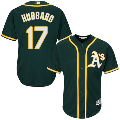 Youth Majestic Oakland Athletics #17 Glenn Hubbard Replica Green Alternate 1 Cool Base MLB Jersey