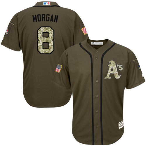 Men's Majestic Oakland Athletics #8 Joe Morgan Authentic Green Salute to Service MLB Jersey