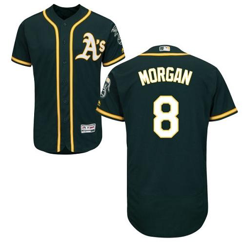 Men's Majestic Oakland Athletics #8 Joe Morgan Green Alternate Flex Base Authentic Collection MLB Jersey