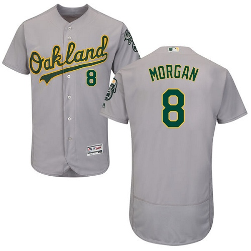 Men's Majestic Oakland Athletics #8 Joe Morgan Grey Road Flex Base Authentic Collection MLB Jersey