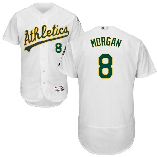 Men's Majestic Oakland Athletics #8 Joe Morgan White Home Flex Base Authentic Collection MLB Jersey