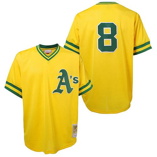 Men's Mitchell and Ness Oakland Athletics #8 Joe Morgan Replica Gold Throwback MLB Jersey