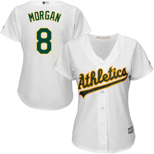 Women's Majestic Oakland Athletics #8 Joe Morgan Authentic White Home Cool Base MLB Jersey