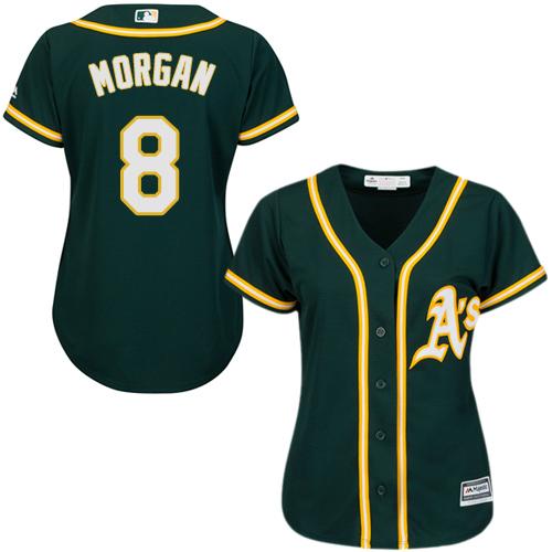 Women's Majestic Oakland Athletics #8 Joe Morgan Replica Green Alternate 1 Cool Base MLB Jersey