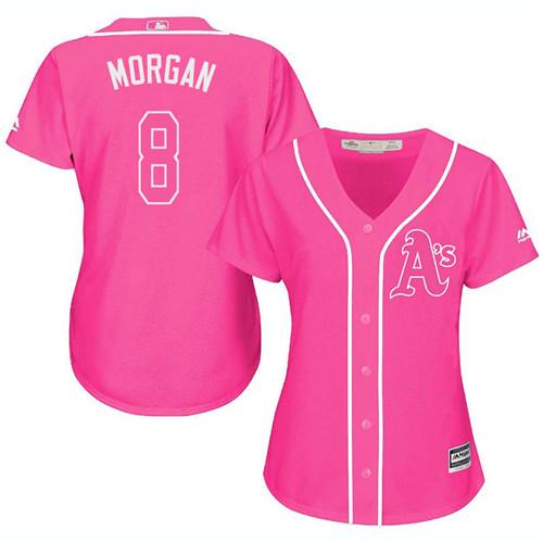 Women's Majestic Oakland Athletics #8 Joe Morgan Replica Pink Fashion Cool Base MLB Jersey