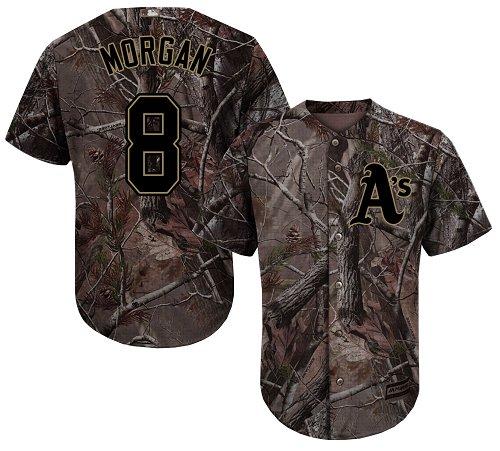 Youth Majestic Oakland Athletics #8 Joe Morgan Authentic Camo Realtree Collection Flex Base MLB Jersey
