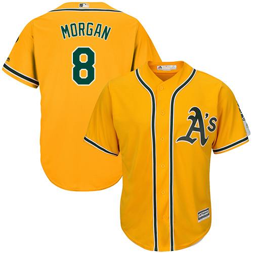 Youth Majestic Oakland Athletics #8 Joe Morgan Authentic Gold Alternate 2 Cool Base MLB Jersey
