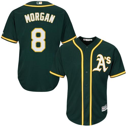 Youth Majestic Oakland Athletics #8 Joe Morgan Authentic Green Alternate 1 Cool Base MLB Jersey