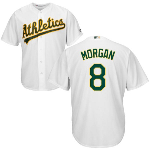 Youth Majestic Oakland Athletics #8 Joe Morgan Authentic White Home Cool Base MLB Jersey