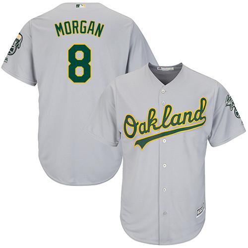 Youth Majestic Oakland Athletics #8 Joe Morgan Replica Grey Road Cool Base MLB Jersey