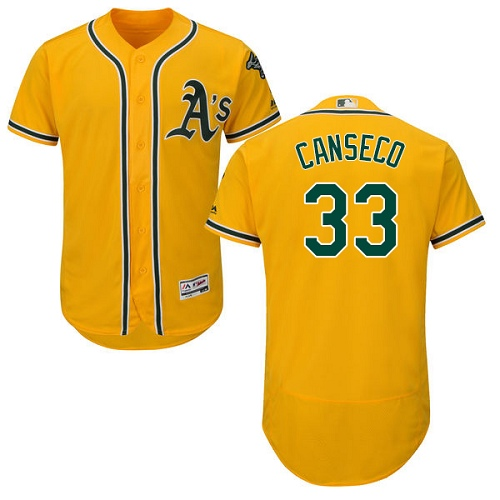 Men's Majestic Oakland Athletics #33 Jose Canseco Gold Alternate Flex Base Authentic Collection MLB Jersey