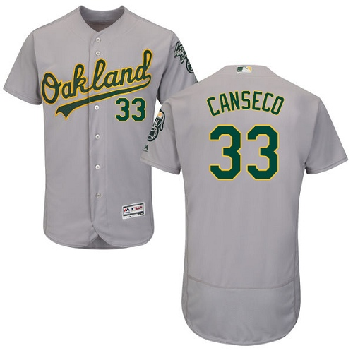 Men's Majestic Oakland Athletics #33 Jose Canseco Grey Road Flex Base Authentic Collection MLB Jersey