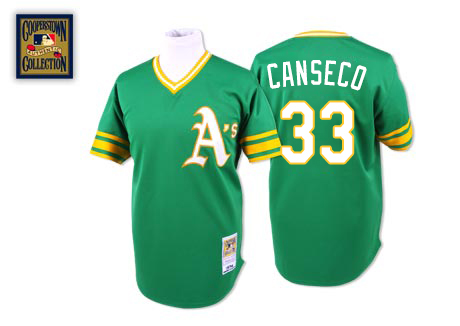 Men's Mitchell and Ness Oakland Athletics #33 Jose Canseco Authentic Green Throwback MLB Jersey
