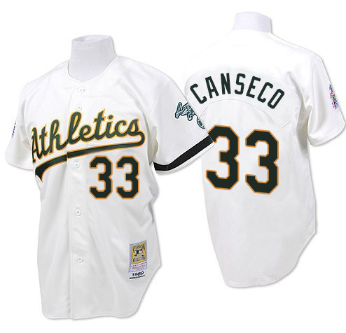 Men's Mitchell and Ness Oakland Athletics #33 Jose Canseco Replica White Throwback MLB Jersey