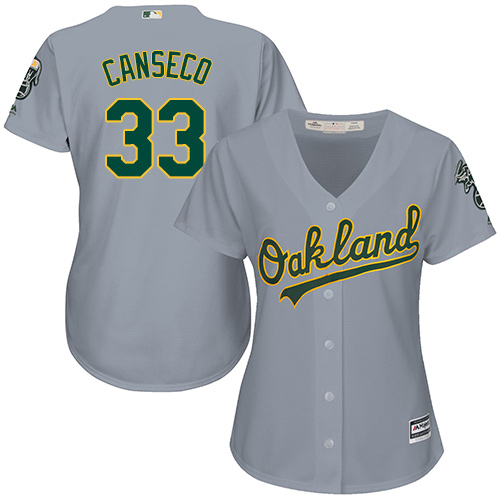 Women's Majestic Oakland Athletics #33 Jose Canseco Authentic Grey Road Cool Base MLB Jersey