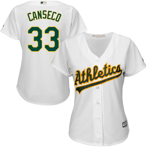 Women's Majestic Oakland Athletics #33 Jose Canseco Replica White Home Cool Base MLB Jersey