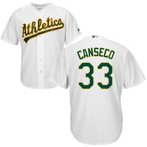 Youth Majestic Oakland Athletics #33 Jose Canseco Authentic White Home Cool Base MLB Jersey