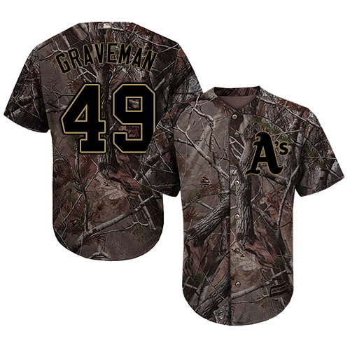 Men's Majestic Oakland Athletics #49 Kendall Graveman Authentic Camo Realtree Collection Flex Base MLB Jersey