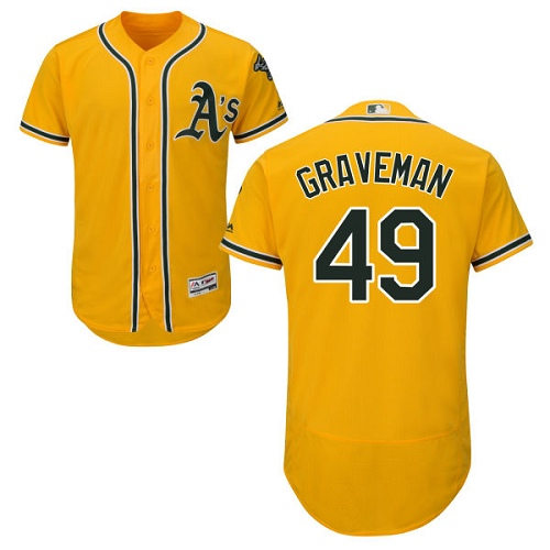 Men's Majestic Oakland Athletics #49 Kendall Graveman Gold Flexbase Authentic Collection MLB Jersey