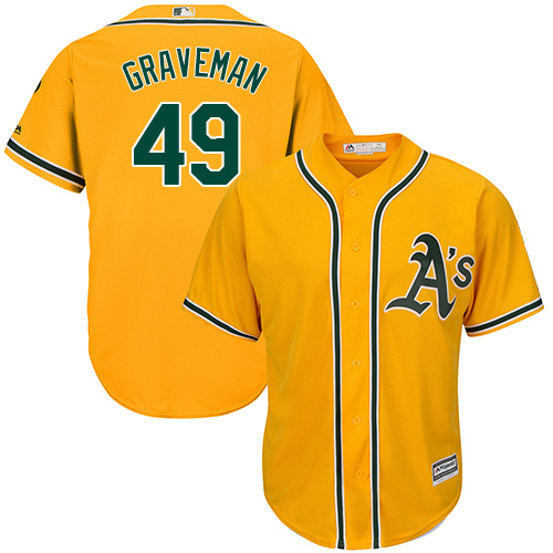 Men's Majestic Oakland Athletics #49 Kendall Graveman Replica Gold Alternate 2 Cool Base MLB Jersey