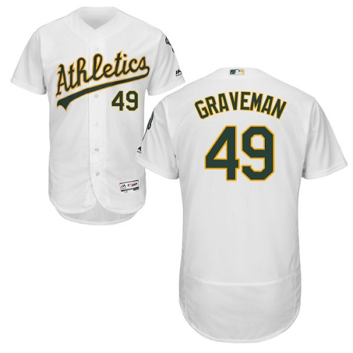 Men's Majestic Oakland Athletics #49 Kendall Graveman White Flexbase Authentic Collection MLB Jersey