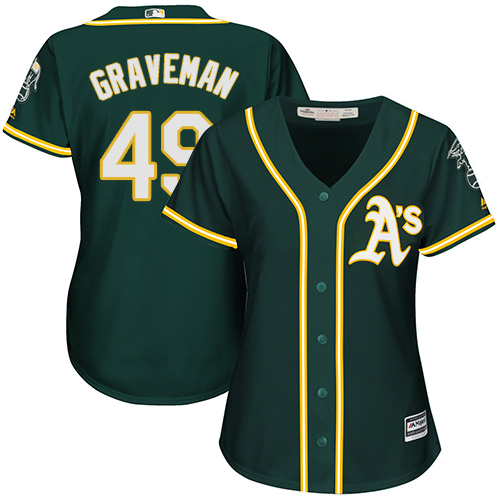 Women's Majestic Oakland Athletics #49 Kendall Graveman Authentic Green Alternate 1 Cool Base MLB Jersey