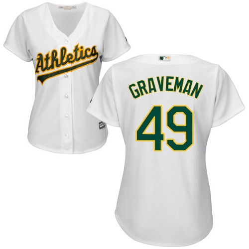 Women's Majestic Oakland Athletics #49 Kendall Graveman Replica White Home Cool Base MLB Jersey