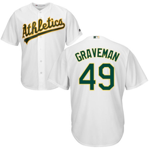 Youth Majestic Oakland Athletics #49 Kendall Graveman Authentic White Home Cool Base MLB Jersey