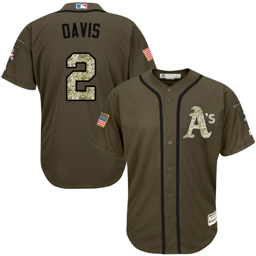 Men's Majestic Oakland Athletics #2 Khris Davis Authentic Green Salute to Service MLB Jersey